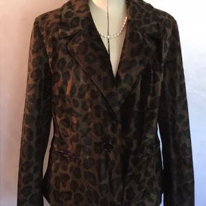 INC Faux Fur Leopard Print Jacket
